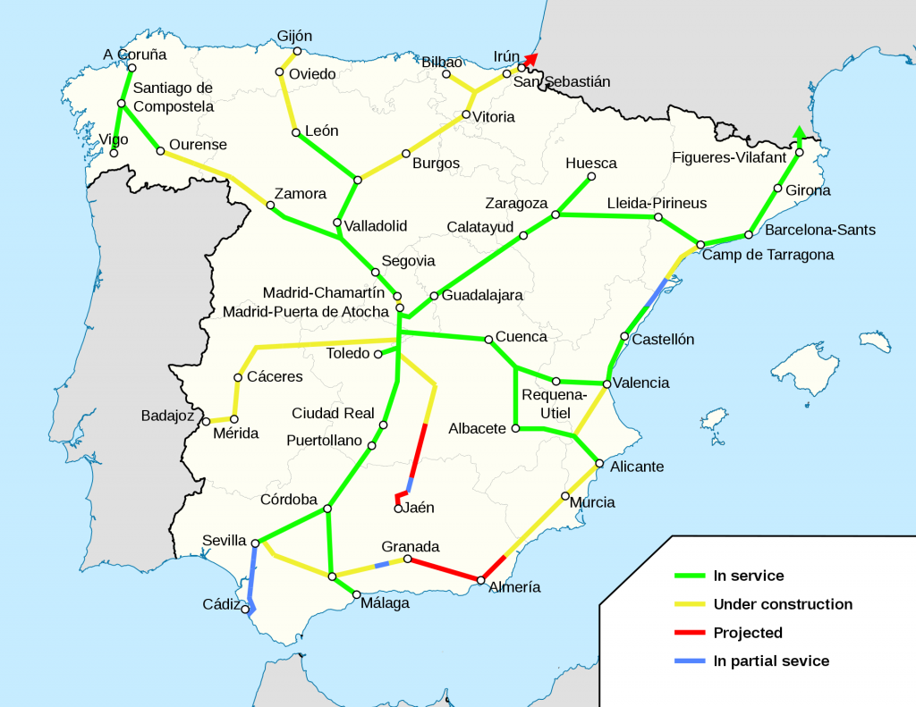 De AVE hogesnelheidstrein in Spanje